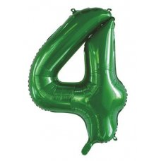 34inch Decrotex Foil Balloon Number Green #4 Shaped P1
