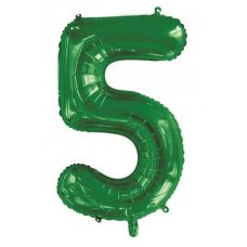 34inch Decrotex Foil Balloon Number Green #5 Shaped P1