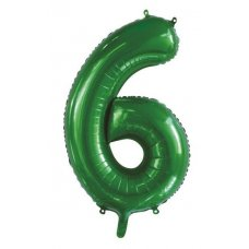 34inch Decrotex Foil Balloon Number Green #6 Shaped P1