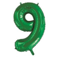 34inch Decrotex Foil Balloon Number Green #9 Shaped P1