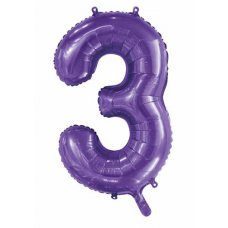 34inch Decrotex Foil Balloon Number Purple #3 Shaped P1