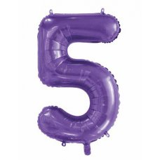34inch Decrotex Foil Balloon Number Purple #5 Shaped P1