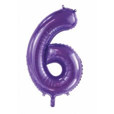 34inch Decrotex Foil Balloon Number Purple #6 Shaped P1