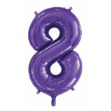 34inch Decrotex Foil Balloon Number Purple #8 Shaped P1