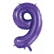 34inch Decrotex Foil Balloon Number Purple #9 Shaped P1
