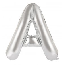 34inch Decrotex Foil Balloon Alphabet Silver #A Shaped P1