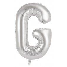 34inch Decrotex Foil Balloon Alphabet Silver #G Shaped P1