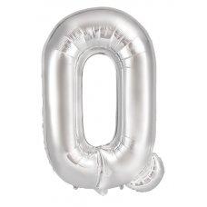 34inch Decrotex Foil Balloon Alphabet Silver #Q Shaped P1