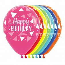 Happy Birthday Triangles Asstd Sempertex Balloons 30cm Bag50