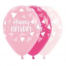 Happy Birthday Triangles Pinks Sempertex Balloons 30cm Bag50