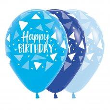 Happy Birthday Triangles Blues Sempertex Balloons 30cm Bag50
