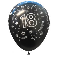 18 Metallic Black (580) Sempertex Balloons 30cm Bag50