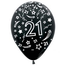 21 Metallic Black (580) Sempertex Balloons 30cm Bag50