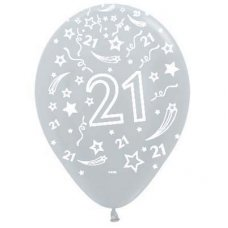 21 Satin Silver (481) Sempertex Balloons 30cm Bag50