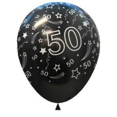 50 Metallic Black (580) Sempertex Balloons 30cm Bag50