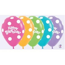 Polka Dot Bday Fash (012 031 038 050) Sempertex 30cm Bag50