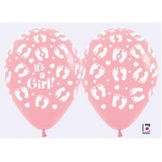 Its a Girl Footprints (Pastel) (109) 30cm Bag50