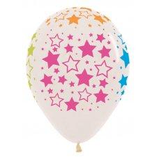 Neon Stars (Crystal Clear) (390) Sempertex Balloon 30cm Bag50