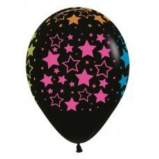 Neon Stars (Std Black) (080) Sempertex Balloons 30cm Bag50