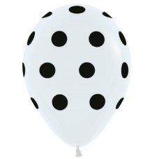 Polka Dots (Std White) (005) Black Print 30cm Bag50