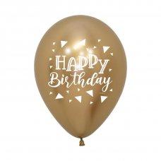 Happy Birthday Triangle Reflex Gold 2 Sided 30cm Bag50