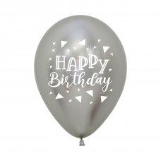 Happy Birthday Triangle Reflex Silver 2 Sided 30cm Bag50