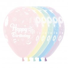 Happy Birthday Sweet Pastel Matte Asstd Sempertex Bag 50