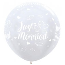 Just Married 90cm Satin White 406 Sempertex P3