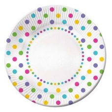 CLEARANCE! Rainbow Polkadot Plate Lunch 7in P6