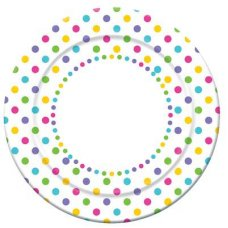 CLEARANCE! Rainbow Polkadot Dinner Plate 9in P6