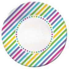 CLEARANCE! Rainbow Stripe Plate Lunch 7in P6