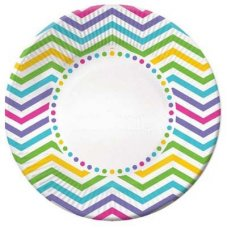 CLEARANCE! Rainbow Chevron Plate Lunch 7in P6