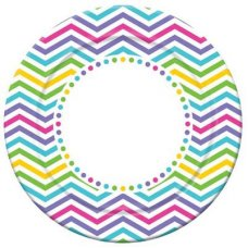 CLEARANCE! Rainbow Chevron Dinner Plate 9in P6