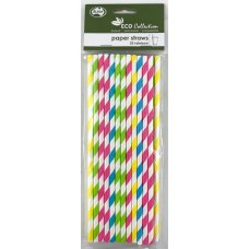 Paper Straws Rainbow Stripe Asstd 205x6mm P25x6