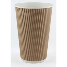 Coffee Cup 16oz. Ripple Wall Kraft ctn 500 P25x20