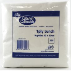 Lunch Napkin White 1ply 300mmx300mm P250x12