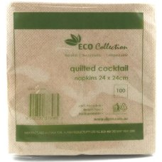 Quilted Cocktail Napkin ECOBROWN 240x240mm P100x20