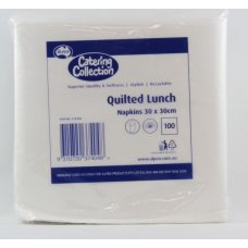 Quilted Napkin White Lunch 300x300mm P100x20