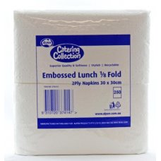 Quilted White M Fold Lunch Napkin P100x20