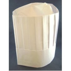 Chef Hat 9in 23cm Paper Vertical Pleat White P10x10