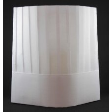 Chef Hat 10in 25cm Viscose Vertical Pleat White P10x10