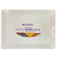 Platter Rectangle PP 40x28x2.5cm White Ctn24