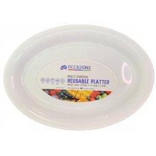 Platter Oval PP 39.5x27.5x3.1cm White Small Ctn24