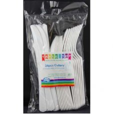 Cutlery White Assorted 8 Knife, 8 Fork, 8 Spoon P24