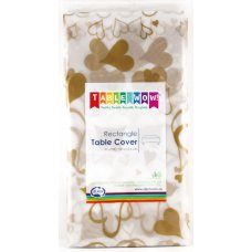 Clear - Gold Hearts Printed Rect Tablecover P1