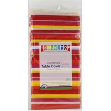 Red & Pink Stripes Printed Rect Tablecover P1