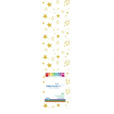 Clear - Gold Stars Printed Tablecover Roll 1 Roll