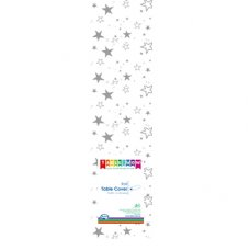 Clear - Silver Stars Printed Tablecover Roll 1 Roll