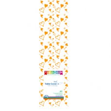 Clear - Gold Hearts Printed Tablecover Roll 1 Roll
