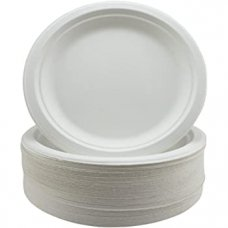 Sugarcane Lunch Plates 180mm White P50x5